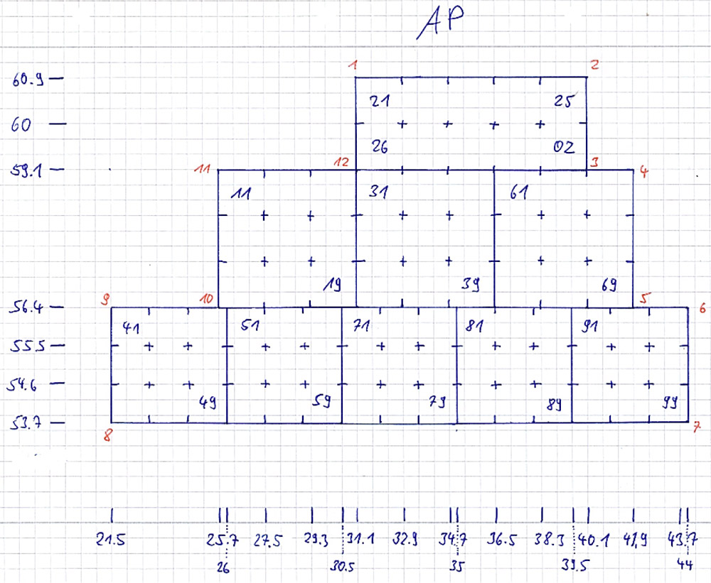 Detailed drawing of square AP